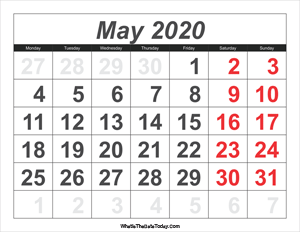 2020 calendar may with large numbers