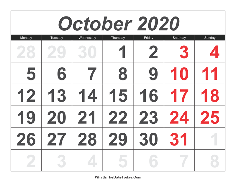 2020 calendar october with large numbers