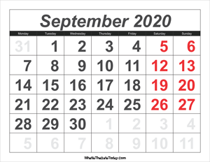 2020 calendar september with large numbers