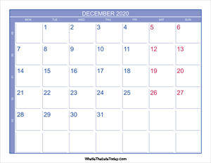 2020 december calendar with week numbers