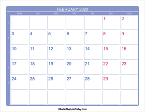 2020 february calendar with week numbers