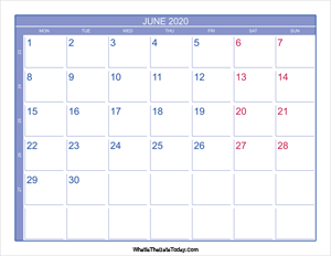 2020 june calendar with week numbers
