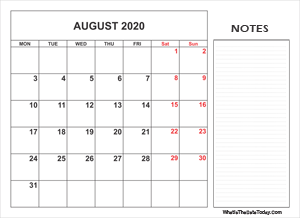 2020 printable august calendar with notes