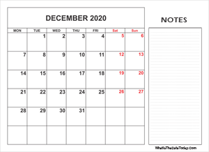 2020 printable december calendar with notes