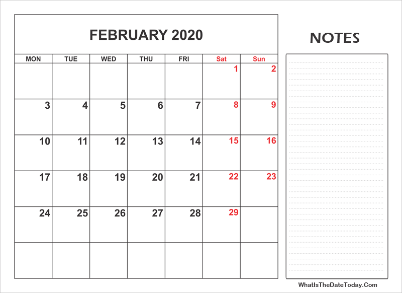 2020 printable february calendar with notes
