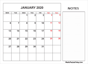 2020 printable january calendar with notes