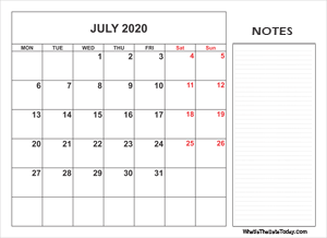 2020 printable july calendar with notes