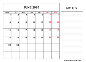 2020 printable june calendar with notes
