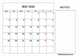 2020 printable may calendar with notes