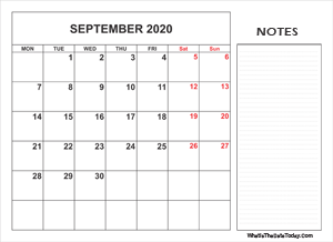 2020 printable september calendar with notes