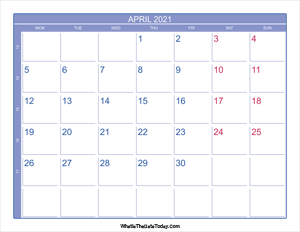 2021 april calendar with week numbers