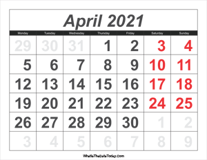 2021 calendar april with large numbers