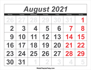 2021 calendar august with large numbers