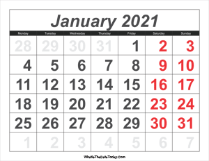 2021 calendar january with large numbers