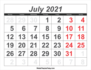 2021 calendar july with large numbers