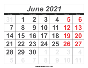 2021 calendar june with large numbers