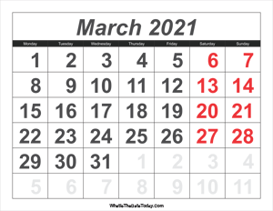 2021 calendar march with large numbers