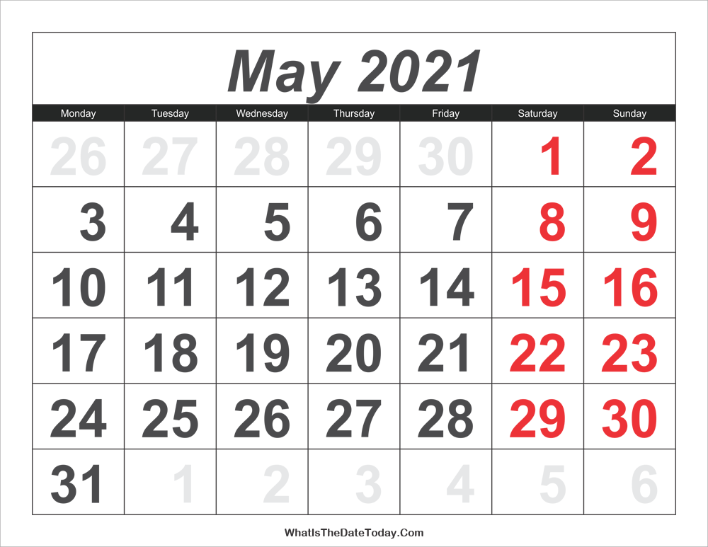2021 calendar may with large numbers