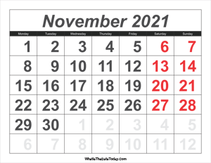 2021 calendar november with large numbers
