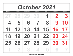 2021 calendar october with large numbers