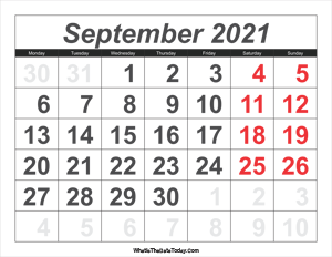 2021 calendar september with large numbers
