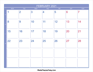 2021 february calendar with week numbers