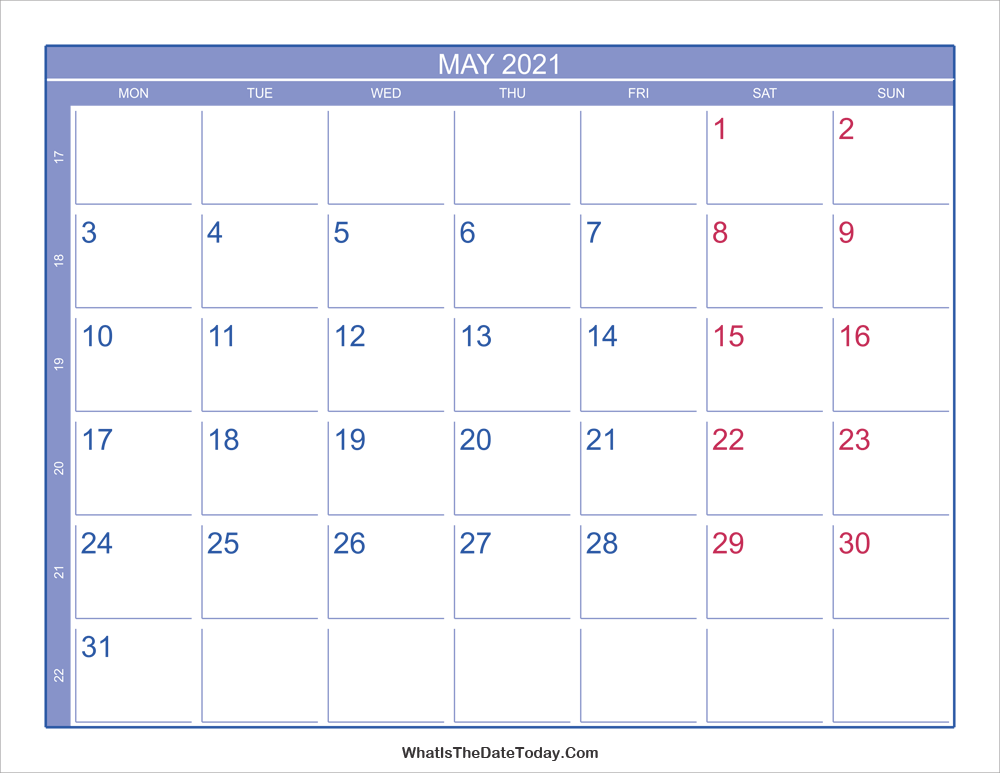2021 may calendar with week numbers