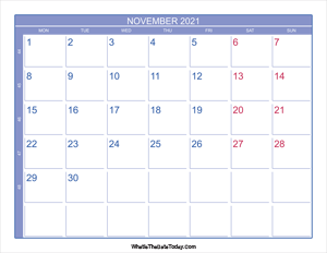 2021 november calendar with week numbers