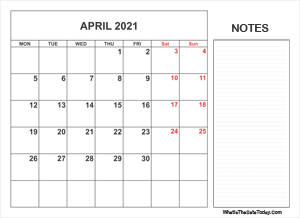 2021 printable april calendar with notes