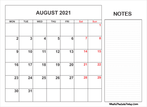2021 printable august calendar with notes