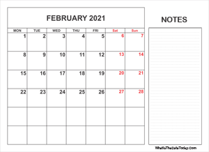 2021 printable february calendar with notes