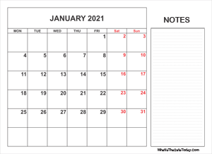 2021 printable january calendar with notes