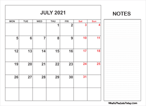 2021 printable july calendar with notes