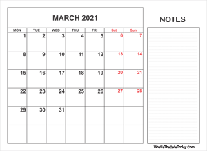 2021 printable march calendar with notes