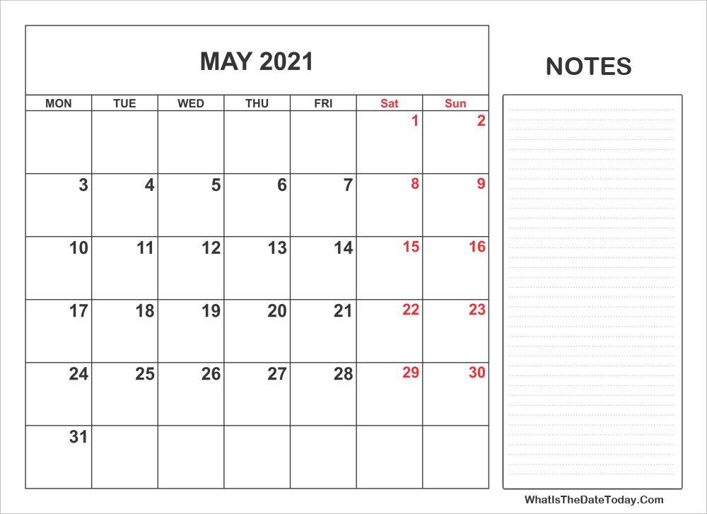 2021 printable may calendar with notes
