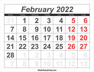 2022 calendar february with large numbers