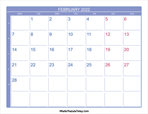 2022 february calendar with week numbers