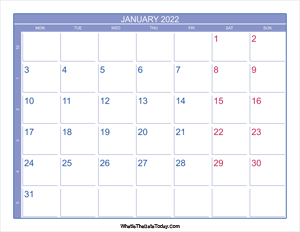 2022 january calendar with week numbers