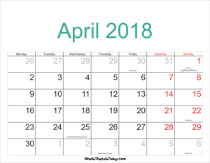 april 2018 calendar printable with holidays
