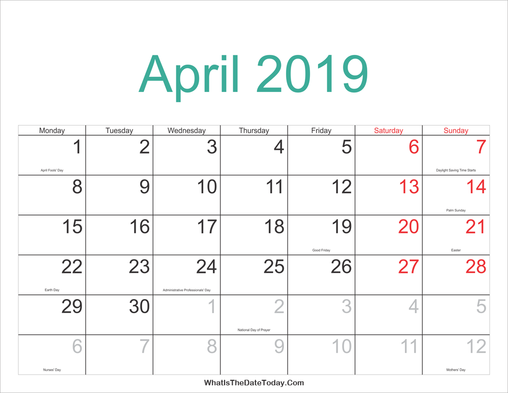 April 2019 Jewish Calendar April 2019 Calendar Printable with Holidays | Whatisthedatetoday.Com