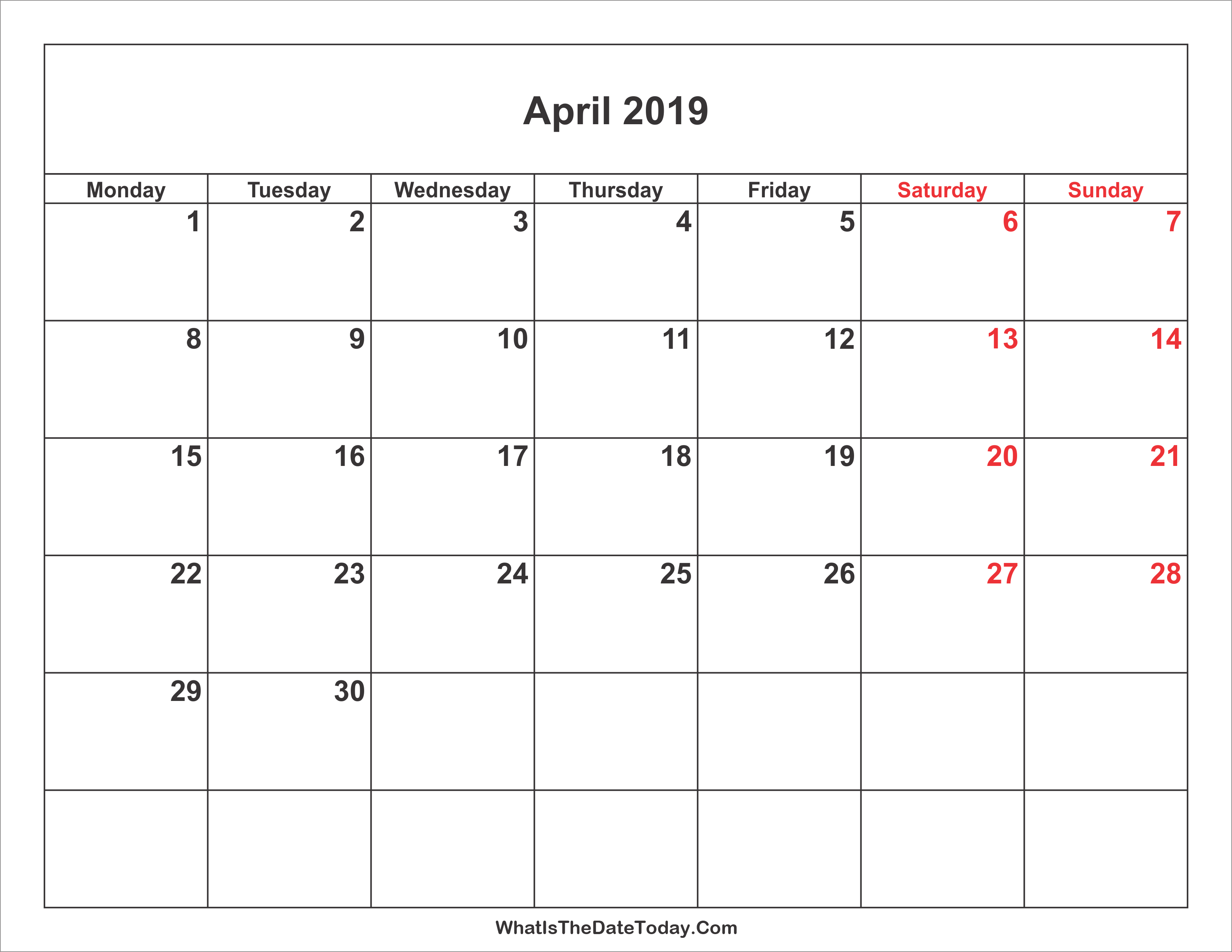 Weekend Calendar 2019 April 2019 Calendar with Weekend Highlight | Whatisthedatetoday.Com