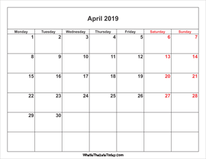 april 2019 calendar with weekend highlight