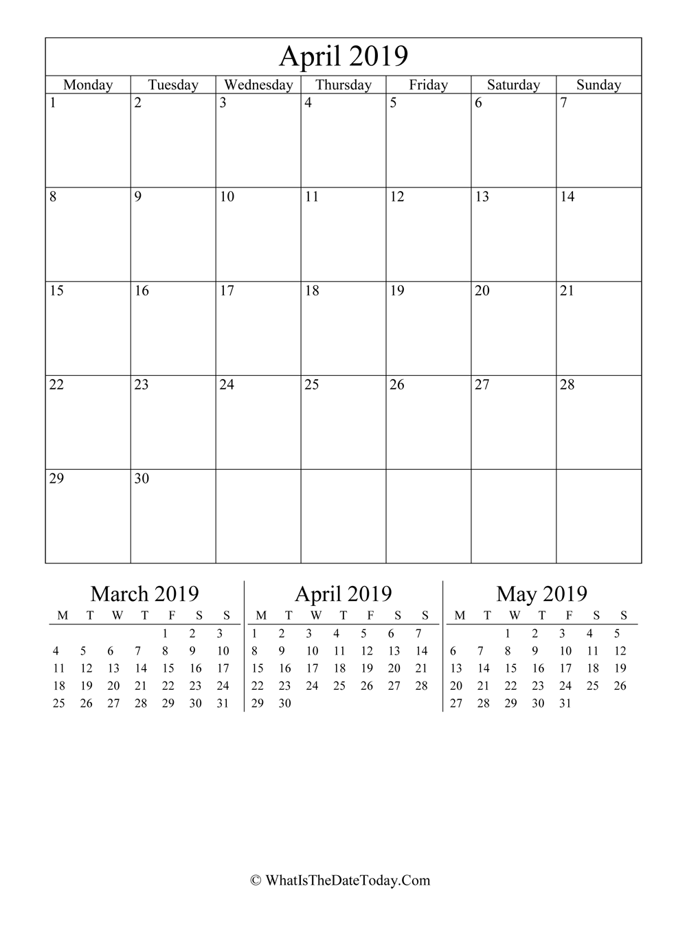 april 2019 editable calendar with three mini calendars in vertical layout