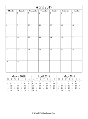 april 2019 editable calendar (vertical layout)