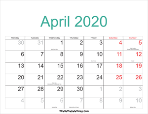 april 2020 calendar printable with holidays