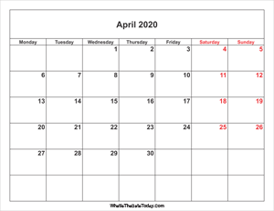 april 2020 calendar with weekend highlight
