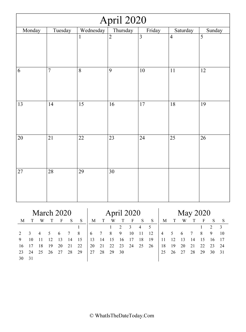 april 2020 editable calendar with three mini calendars in vertical layout