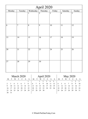 april 2020 editable calendar (vertical) with three mini months