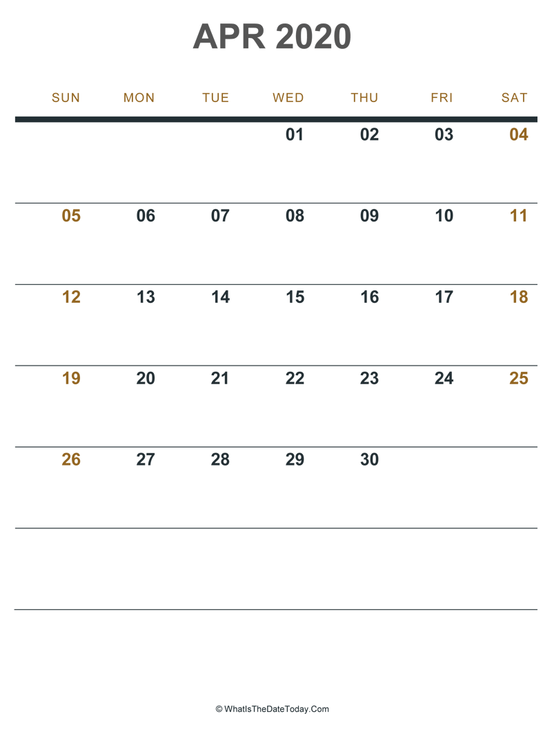 april 2020 printable calendar (portrait layout)