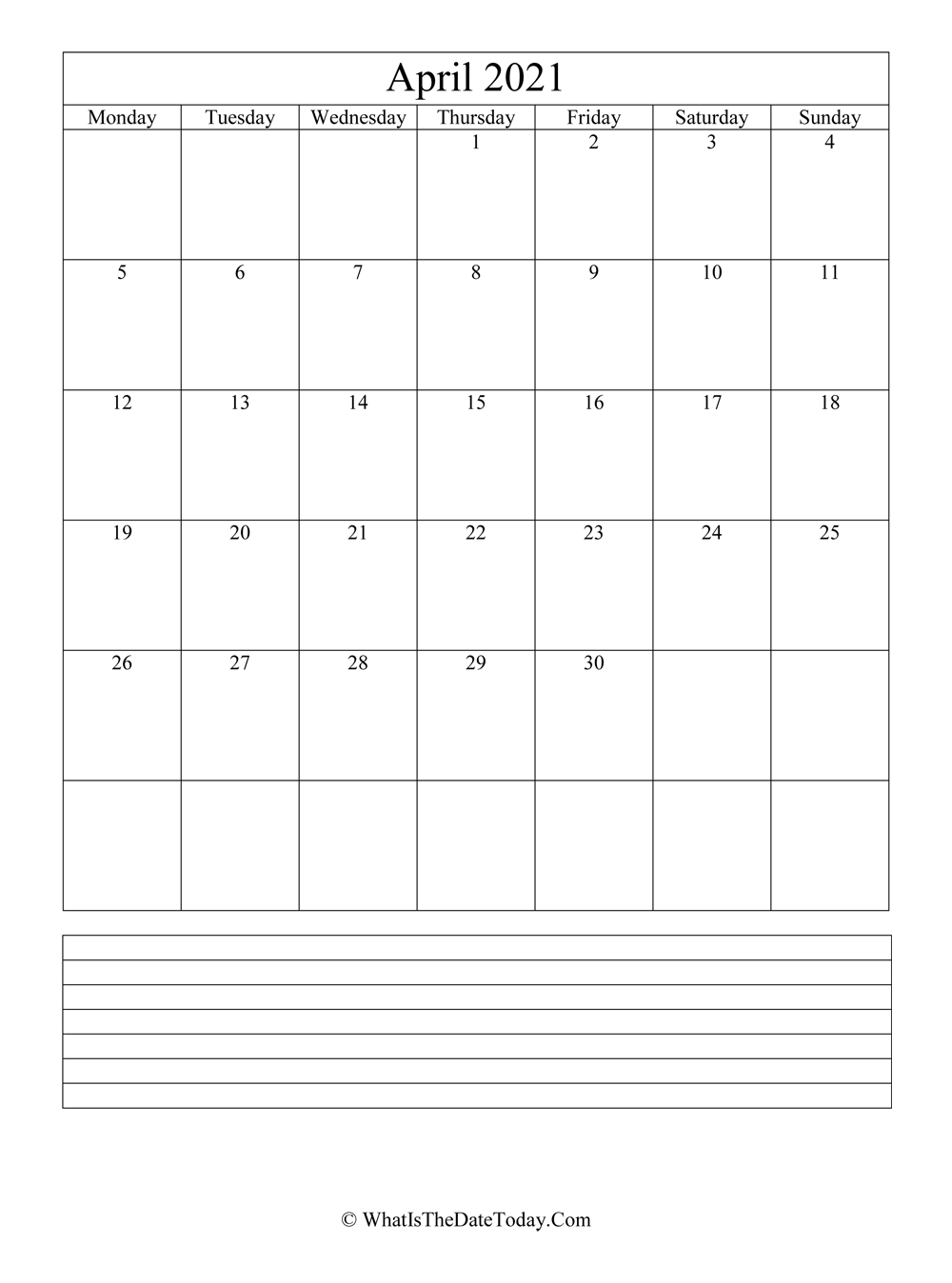 April 2021 Calendar Editable with Notes Space (vertical ...